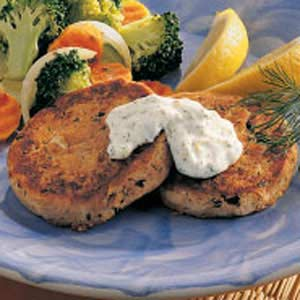 Tuna Patties with Dill Sauce Recipe