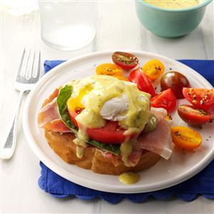 Italian Eggs Benedict with Pesto Hollandaise Recipe