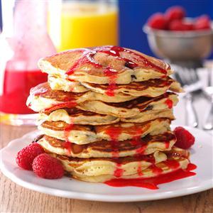 Chocolate Chunk Pancakes with Raspberry Sauce Recipe