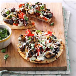 Grilled Eggplant Pita Pizzas Recipe