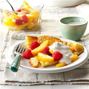 Raspberry Peach Puff Pancake Recipe