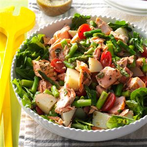 Salmon Vegetable Salad with Pesto Vinaigrette Recipe