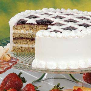 Raspberry Walnut Torte with Cream Cheese Frosting Recipe