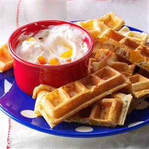 Peaches 'n' Cream Waffle Dippers Recipe