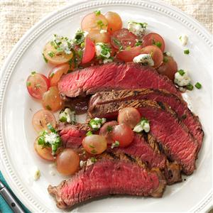 Balsamic Steak with Red Grape Relish Recipe