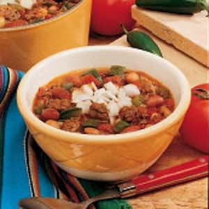 Meaty Three-Bean Chili Recipe