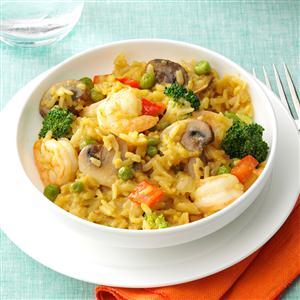 Shrimp & Broccoli Brown Rice Paella Recipe