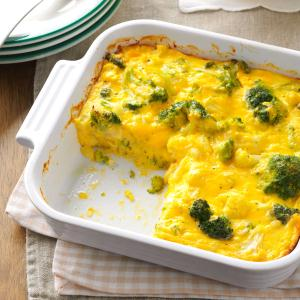 Cauliflower-Broccoli Cheese Bake Recipe