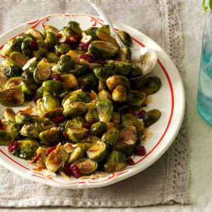 Roasted Brussels Sprouts with Cranberries & Almonds Recipe