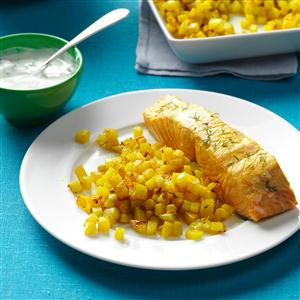 Poached Salmon with Dill & Turmeric Recipe