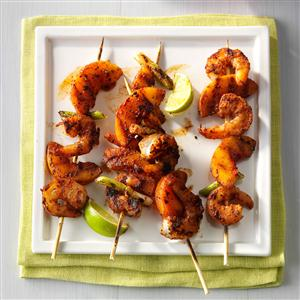 Barbecued Shrimp & Peach Kabobs Recipe