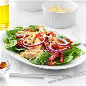 Sun-Dried Tomato & Chicken Spinach Salad Recipe