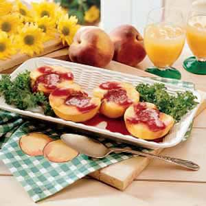 Grilled Peaches with Berry Sauce Recipe