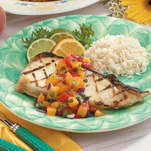 Halibut with Zesty Peach Salsa Recipe