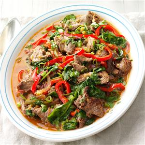Spicy beef pepper stir fry recipe taste of home spicy beef pepper stir fry recipe forumfinder Image collections