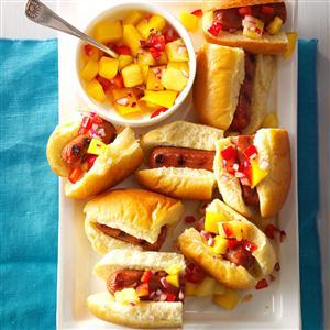 Hot Dog Sliders with Mango-Pineapple Salsa Recipe