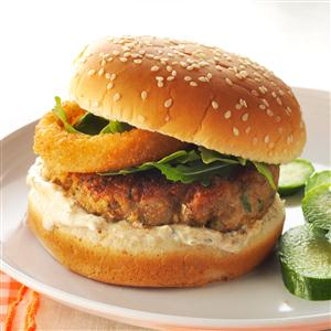 Falafel Chicken Burgers with Lemon Sauce Recipe