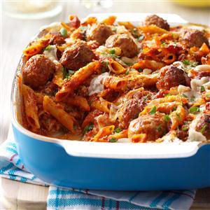 Three-Cheese Meatball Mostaccioli Recipe