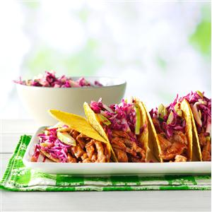 Barbecue Pork Tacos with Apple Slaw Recipe