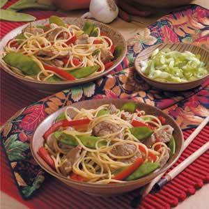 Pork Lo Mein with Spaghetti