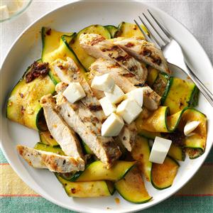 Garlic-Grilled Chicken with Pesto Zucchini Ribbons Recipe