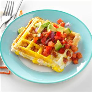 Egg-Topped Biscuit Waffles Recipe