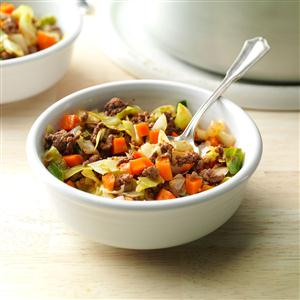 Saucy Beef & Cabbage Supper Recipe