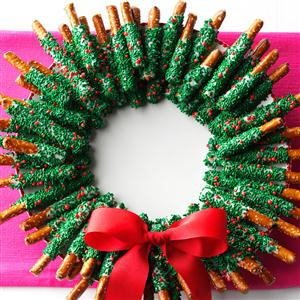 Chocolate-Dipped Pretzel Wreath Recipe