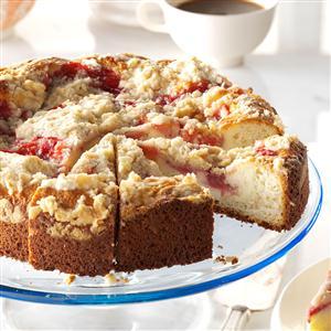 Rhubarb & Strawberry Coffee Cake Recipe