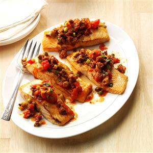 Grilled Salmon with Chorizo-Olive Sauce Recipe