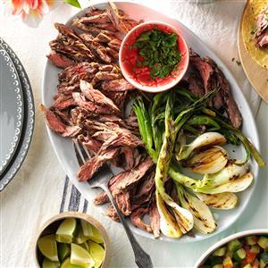 Grilled Onion & Skirt Steak Tacos Recipe