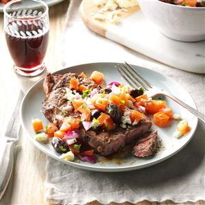 Grilled Ribeyes with Greek Relish Recipe