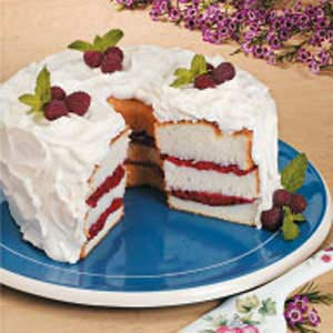 RhubarbOrange Angel Food Torte Recipe Taste of Home