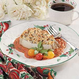 Halibut with Tomato-Basil Sauce Recipe