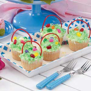 Cupcake easter baskets recipe taste of home cupcake easter baskets recipe negle Images