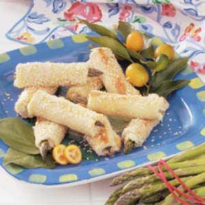 Cheesy Asparagus Sesame Rolls