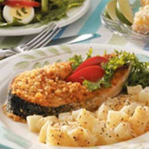Crispy Salmon Steaks Recipe
