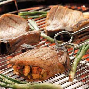 Colorful Stuffed Pork Chops Recipe