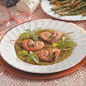 Shrimp with Basil-Mango Sauce Recipe