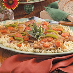 Saucy Pork Chops with Vegetables Recipe