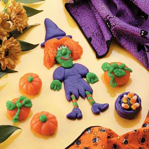 Marzipan Witch, Pumpkins and Cauldron Recipe