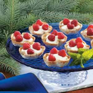 Raspberry-Topped Cream Tarts Recipe