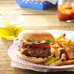Air Fryer Herb and Cheese-Stuffed Burgers Recipe