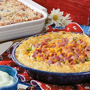 Hash Brown Ham and Cheese Quiche Recipe
