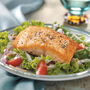 Salmon Fillets on Greens Recipe