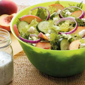 Peachy Tossed Salad with Poppy Seed Dressing Recipe