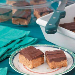 Chocolate Butterscotch Peanut Butter Cereal Bars with Recipe