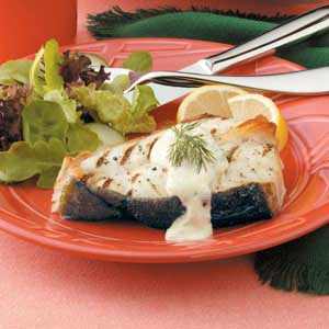 Grilled Halibut with Mustard Dill Sauce Recipe