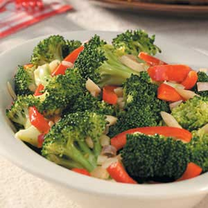 Broccoli with Sauteed Red Pepper Recipe