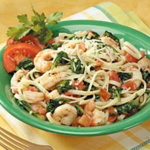 Spinach Shrimp Fettuccine Recipe